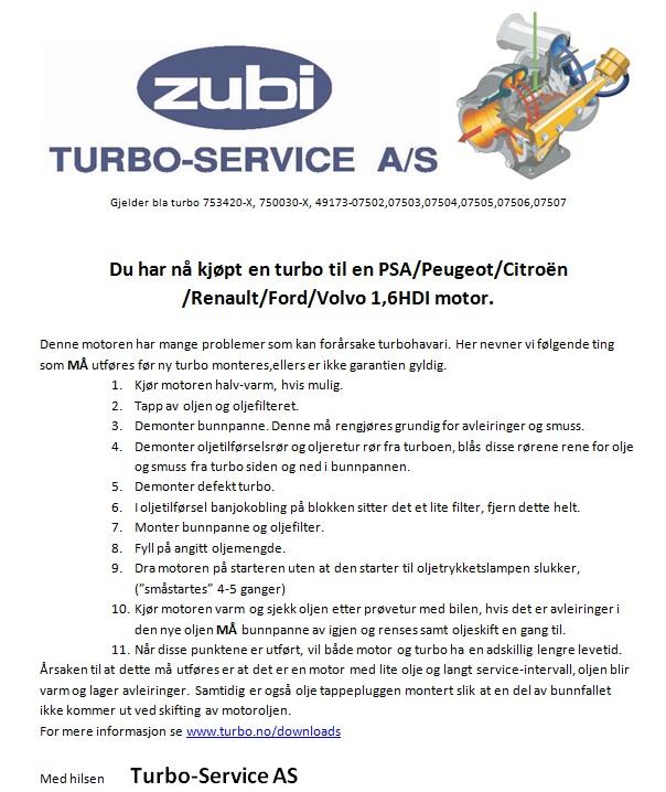 Brukerguide Turbo for PSA Peugeot Citroen Renault